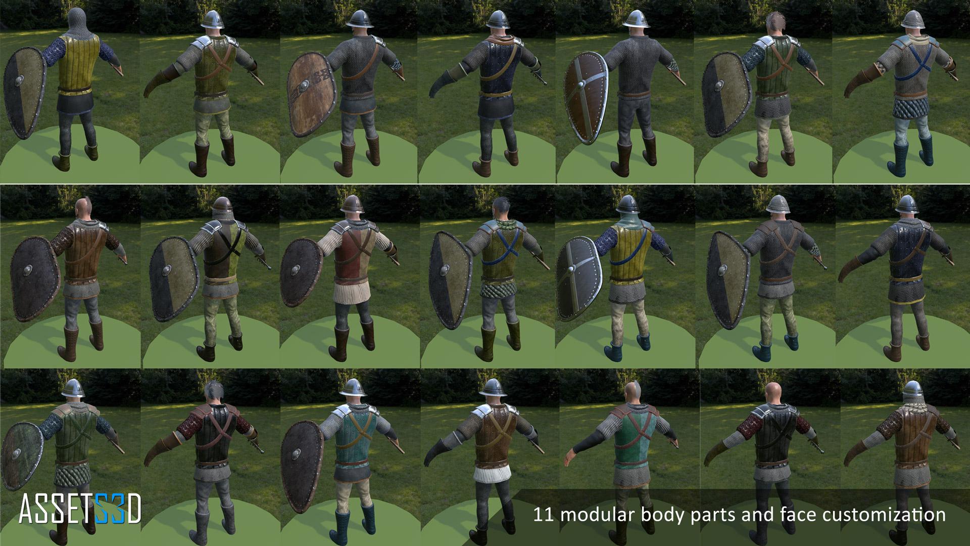 UNITY – Modular Medieval Warriors – Assets3D